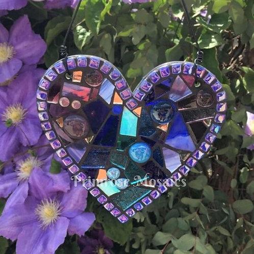 Blue & Purple Heart: Hanging Garden Mosaic Suncatcher
