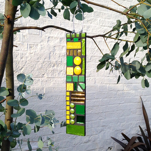Daffodil Garden Pendant: Glass Hanging Mosaic