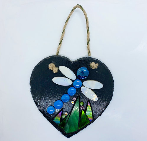 Dragonfly Garden Slate Heart