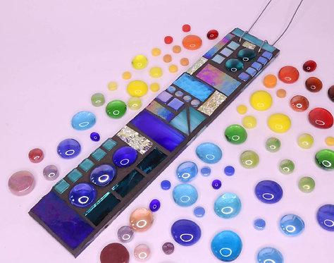 Blue Heaven Garden Pendant: Glass Hanging Mosaic