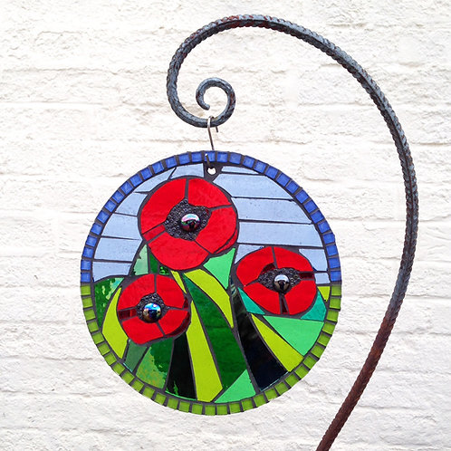 Poppy Circle: Glass Hanging Garden Mosaic