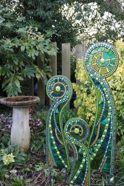 Garden Sculpture-Unfurling Ferns-mosaic.