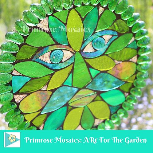 Green Man: Glass Hanging Garden Mosaic