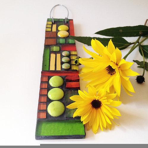 Citrus Burst Garden Pendant: Glass Hanging Mosaic
