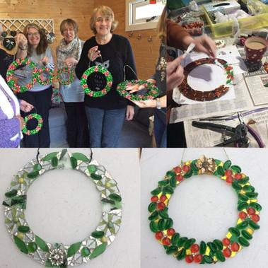 Christmas wreath making class mosaic workshop swindon