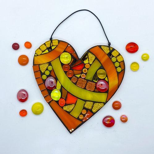 Orange Swirl Heart : Glass Hanging Garden Ornament