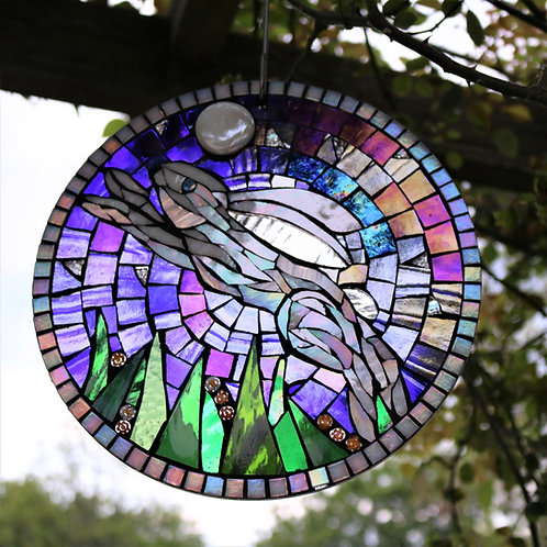 Midnight Hare Circle: Glass Hanging Garden Mosaic
