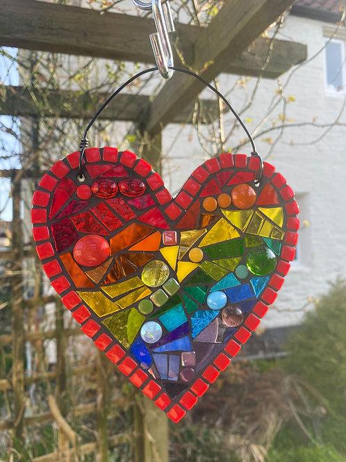 Rainbow Heart : Glass Hanging Garden Suncatcher
