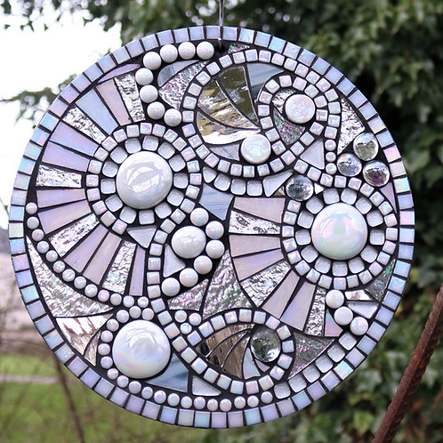 Full Moon Circle: Glass Hanging Garden Mosaic