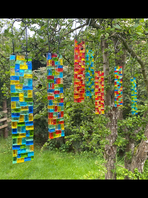 Smalti Garden Pendant: Glass Hanging Mosaic