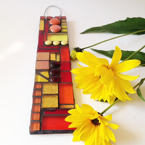 Sunset Glory Garden Pendant: Glass Hanging Mosaic