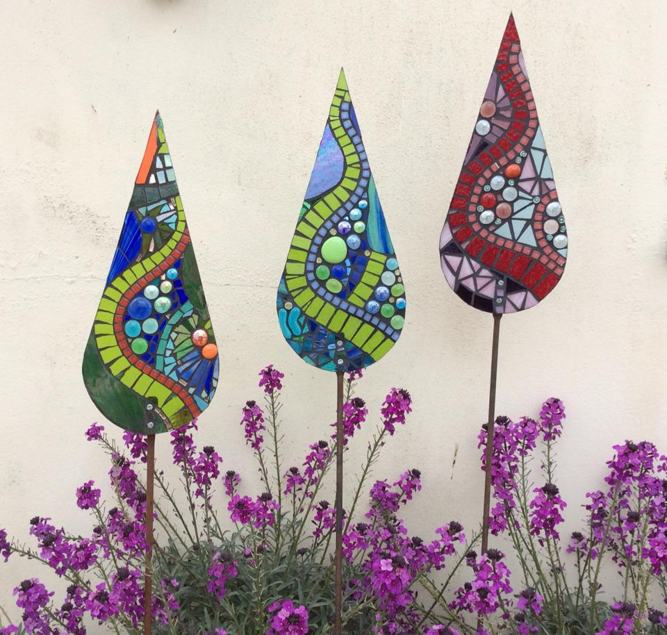 Glass Garden Art Teardrop Sculptures