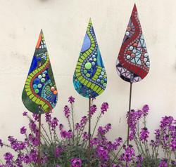 Glass Garden Art Teardrop Sculptures