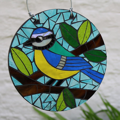 Blue Tit Circle: Garden Bird Art