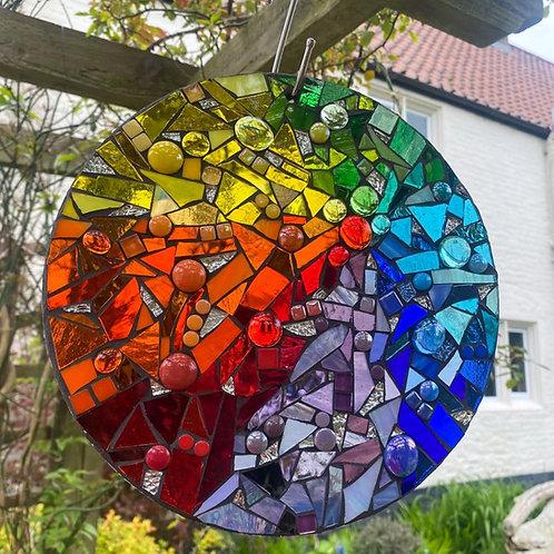 Rainbow: Glass Hanging Garden Mosaic Circle