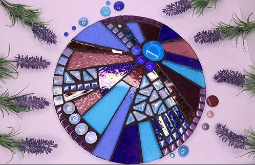 Sunburst Circle: Peacock Glass Hanging Garden Mosaic