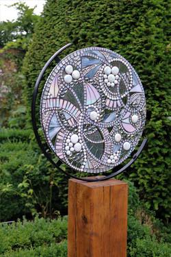 Wolf Moon- Glass Mosaic GardenSculpture