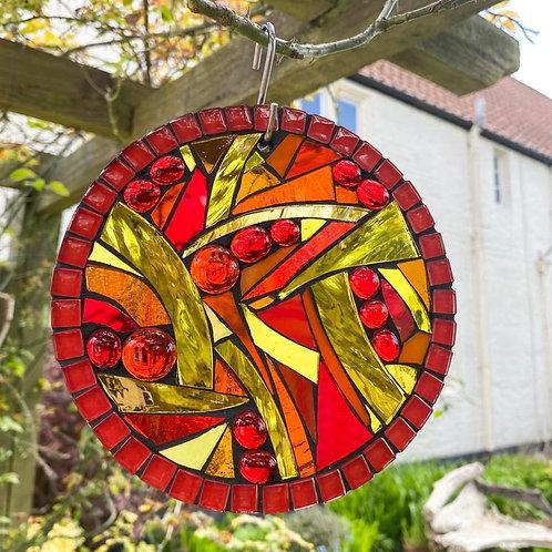 Sunset Jigsaw Circle: Glass Hanging Garden Mosaic