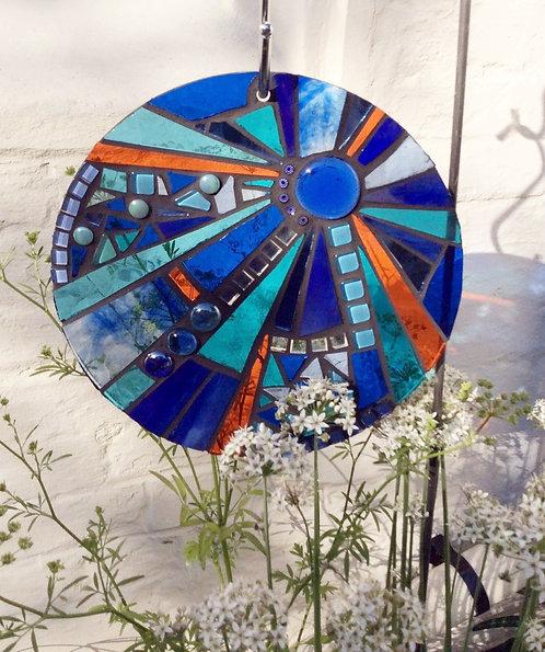Kingfisher Sunburst Circle: Glass Hanging Garden Mosaic