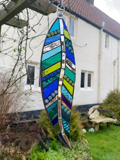 Hanging Garden Feather: Blue and Green