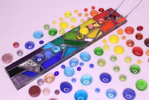 Rainbow Mix Garden Pendant: Glass Hanging Mosaic