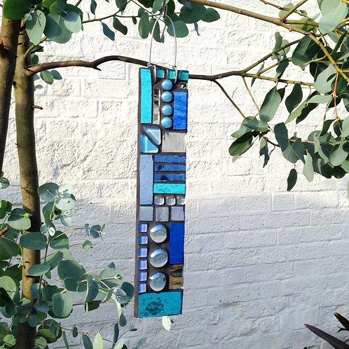 Ocean Blue Garden Pendant: Glass Hanging Mosaic