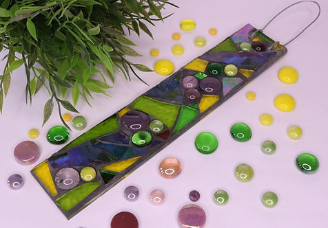 Mardi Gras Mix Garden Pendant: Glass Hanging Mosaic