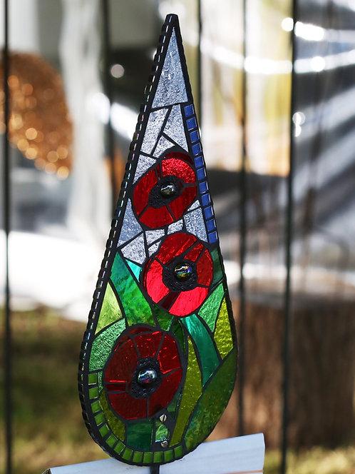 Poppy Teardrop Garden Art