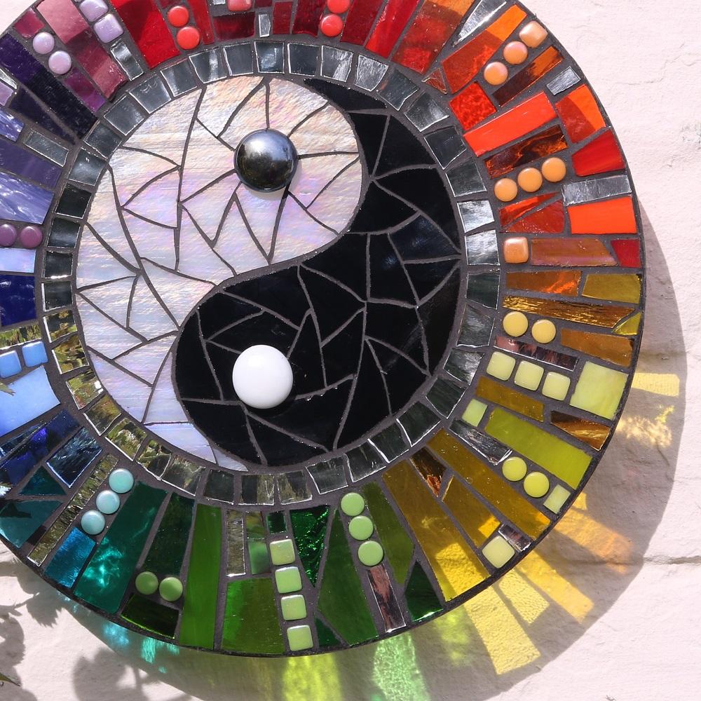 yin yang garden art-rainbow suncatcher