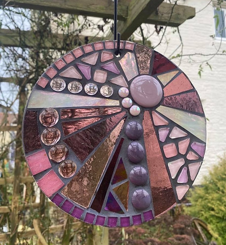 Berry Sorbet Sunburst Circle: Glass Hanging Garden Mosaic