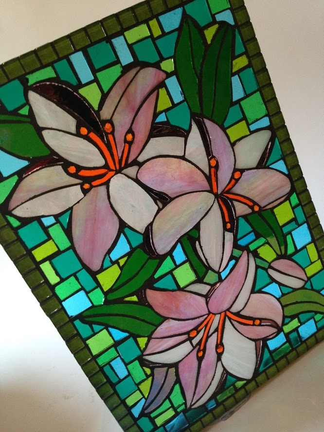 Glass Garden Art Panel- Lillies