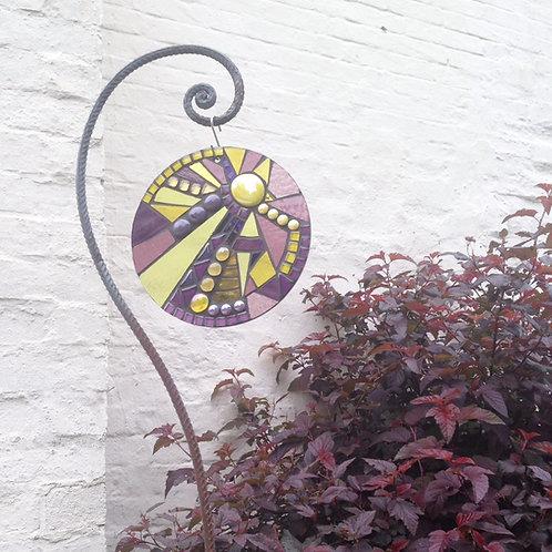 Viola Sunburst Circle: Glass Hanging Garden Mosaic