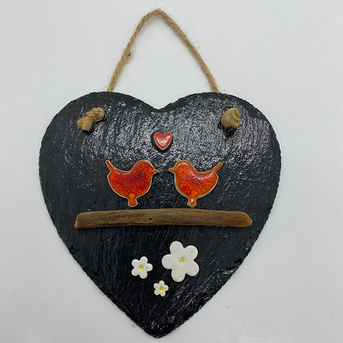 Lovebirds Garden Slate Heart