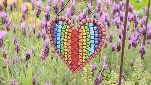 Rainbow Heart: Hanging Garden Mosaic