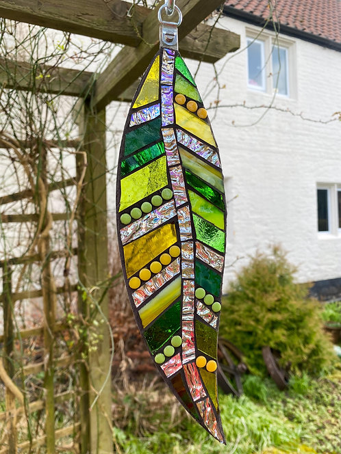 Hanging Garden Feather: Green and Yellow
