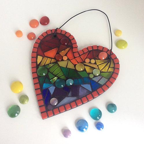Rainbow Heart: Hanging Garden Mosaic Suncatcher