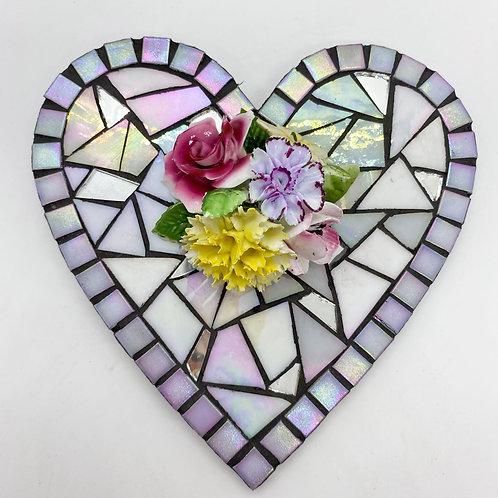 Floral Heart Mosaic : Glass/ Bone China
