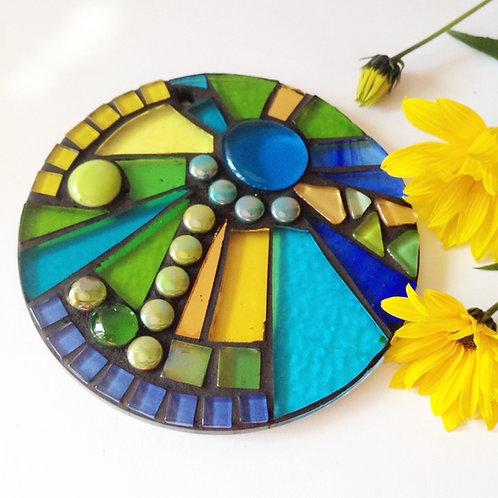 Springtime Sunburst Circle: Glass Hanging Garden Mosaic