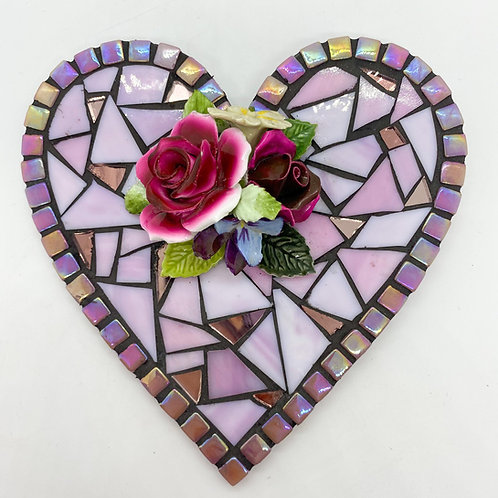 Roses Floral Heart Mosaic : Glass/ Bone China