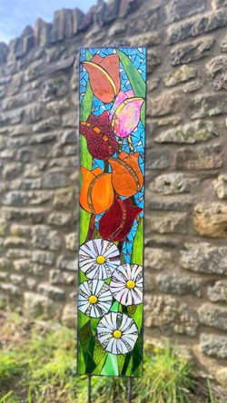 Tulips and Daisies Floral Garden Art Panel