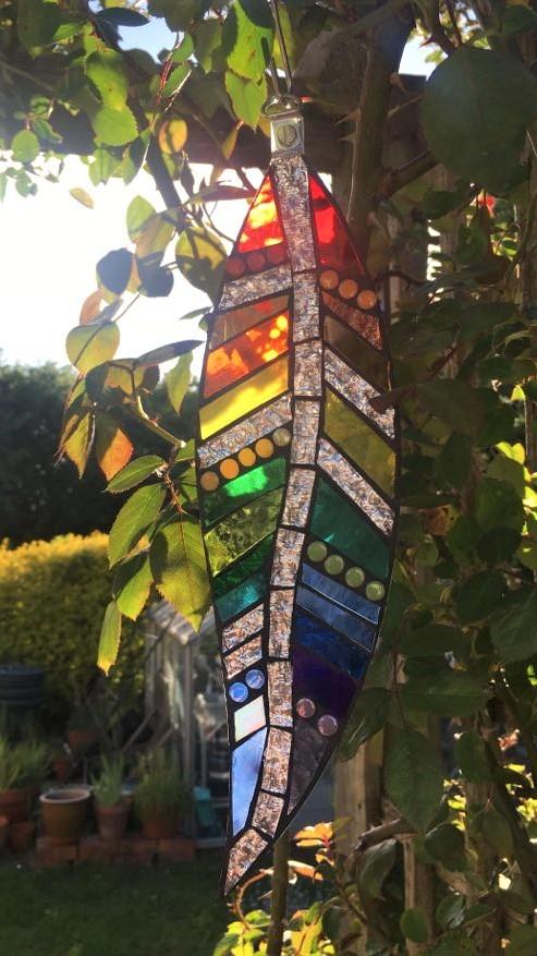 Copy of hanging garden feather suncatche
