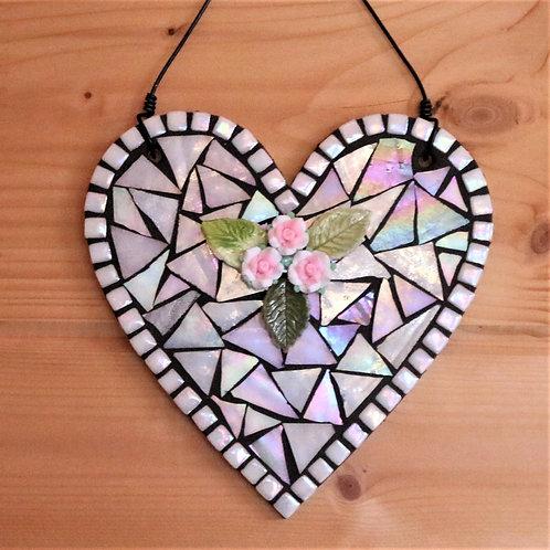 White Floral Heart: Hanging Garden Mosaic