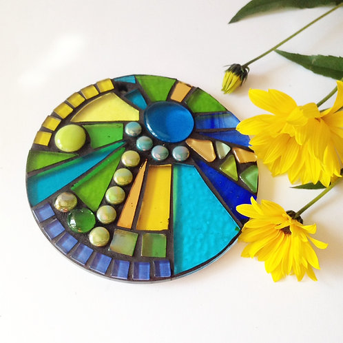 Springtime Sunburst Circle: Glass Hanging Garden Mosaic