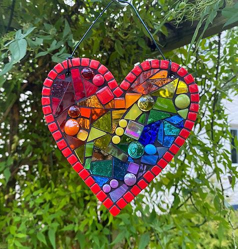 Rainbow Heart : Glass Hanging Garden Ornament