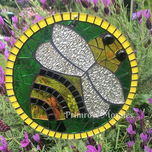 Bee Circle: Glass Hanging Garden Mosaic