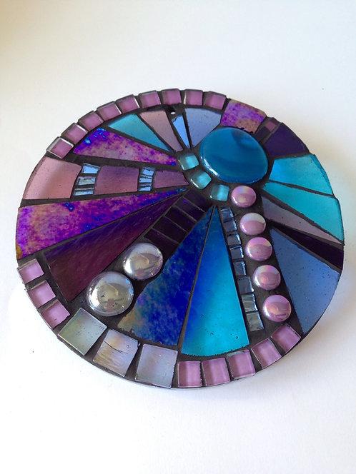 Peacock Sunburst Circle: Glass Hanging Garden Mosaic