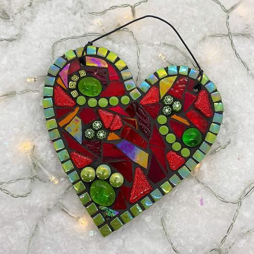 Christmas Heart : Glass Hanging Garden Ornament