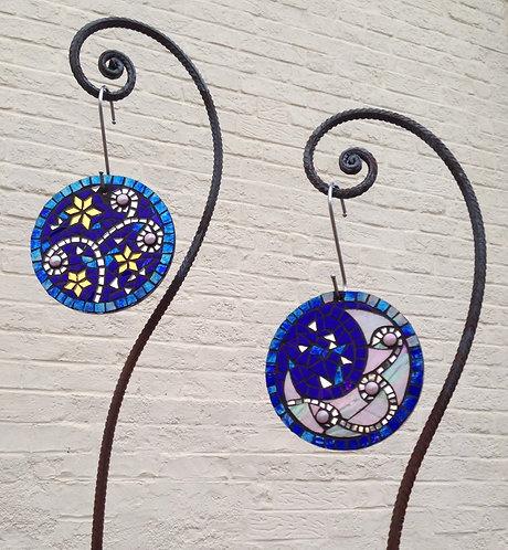 Celestial Circles: Glass Hanging Garden Mosaic