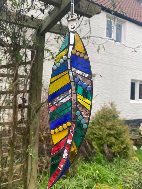 Hanging Garden Feather: Blue & Yellow
