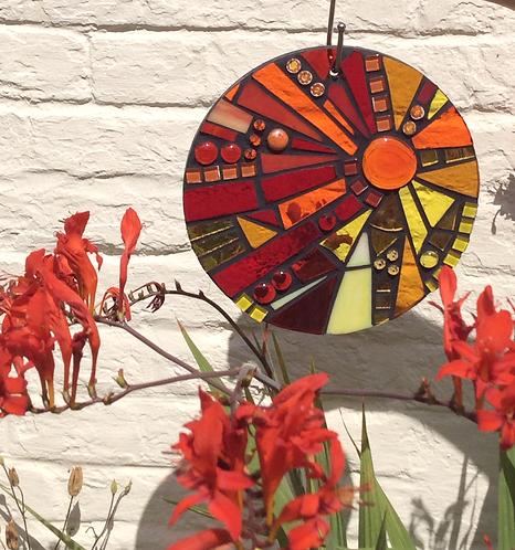 Sunset Glory Sunburst Circle: Glass Hanging Garden Mosaic